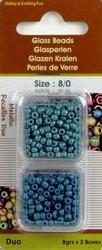Rocailles metallic aqua/blauw