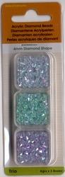 Trio Diamond Shape blauw/aqua/zeegroen