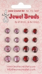 LeCreaDesign Jewel brads 721437 bordeaux / light pink