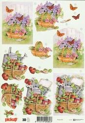 3D Knipvel Pick UP Pu056 Bloemen en fruitmanden