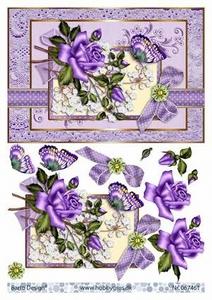 A4 Knipvel Barto Design 67461 Paarse roos