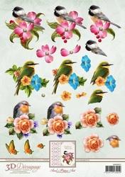3D Knipvel Ann's Paper Art APA3D012 Vogel/Spring Birds