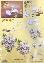 A4 Knipvel Parra 22 Zwanen en bloemen