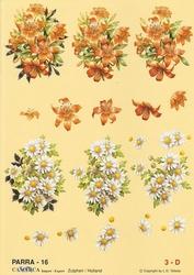 A4 Knipvel Parra 16 Boeketten margriet oranje lelie`s