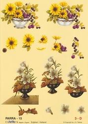 A4 Knipvel Parra 15 Vaasje met boeketjes zonnebloem