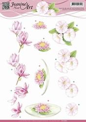 3D Knipvel Jeanines Art CD10687 Roze bloemen/waterlelie