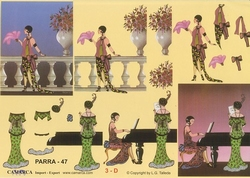 A4 Knipvel Parra 47 Dames met vleugel en balustrade