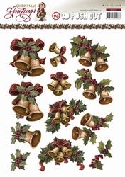 3D Knipvel Amy Design CD10719 Christmas Greetings Klokken