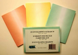 25 Enveloppen C6 Schaduw Groen - Geel - Rood