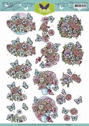 3D Knipvel Yvonne Creations CD10740 Butterfly Flowers