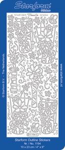 Sticker Natuur Starform 1194 Doodle Bloemen in vaas
