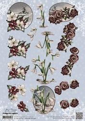 3D Knipvel Amy Design CD10765/HJ13901 Wintertide Flowers