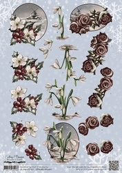 3D Knipvel Amy Design CD10765/HJ13901 Wintertide Flowers
