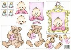 3D Knipvel Vera Smit 99010/17 Geboorte/Baby roze