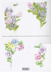 3D Knipvel Jalekro Bloemen 99010/01 Lila/roze/blauw