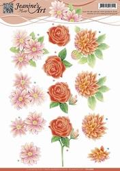 3D Knipvel Jeanines Art CD10686 Rode bloemen