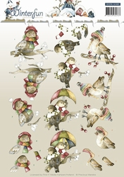 3D Knipvel Precious Marieke CD10785 Winterfun Funny birds