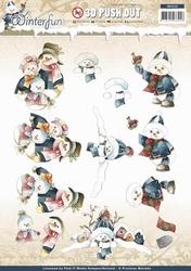 3D Stansvel Precious Marieke SB10133 Winterfun Snowmen