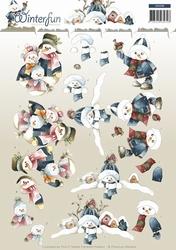 3D Knipvel Precious Marieke CD10788 Winterfun Snowmen