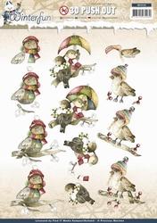 3D Stansvel Precious Marieke SB10130 Winterfun Funny birds