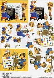 A4 Knipvel Parra 07 Kinderen/piano/schilderen