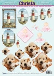 A4 Knipvel Studio Light SL08 Vuurtoren/puppie/baby
