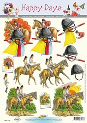 A4 Knipvel Happy Days 11-053-137 Paarden/ruiters