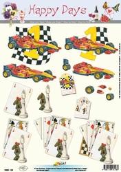 A4 Knipvel Happy Days 11-053-123 Dammen/kaarten/racewagen