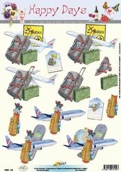 A4 Knipvel Happy Days 11-053-124 Reizen/vliegtuig/golfclubs