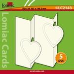 Lomiac Luxe Kaart © LC2143 kaart zigzag met 2 harten ivoor