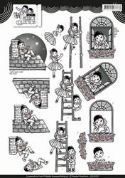 3D Knipvel Yvonne Creations CD10797 Pretty Pierrot & ladder