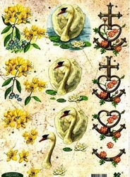 A4 Knipvel Klaver-vier 4117 Condoleance Zwaan/anker/bloemen