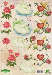 A4 Knipvel Klaver-vier 4119 Liefde/zwaan/hart/anker/roos