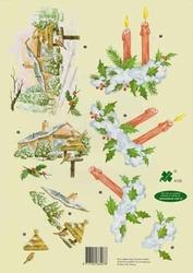 A4 Knipvel Klaver-vier 4102 Winter huisje i/d sneeuw/kaarsen