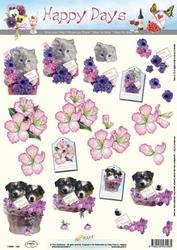 A4 Knipvel Happy Days 11-053-146 Poesje/hondjes met bloemen