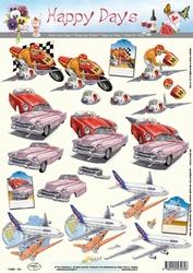A4 Knipvel Happy Days 11-053-161 Auto's/vliegtuig/motto