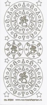 Kerststicker VBK 3024 Cirkel met ster en klok