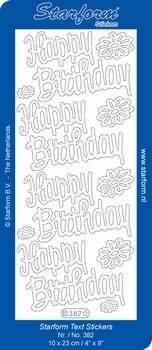 Sticker Starform Engelse tekst  382 Happy Birthday