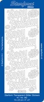 Sticker Starform Engelse tekst  382 Happy Birthday Glitter