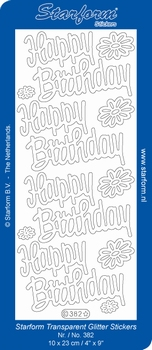 Stickervel Starform Transparant Glitter 382 Happy Birthday