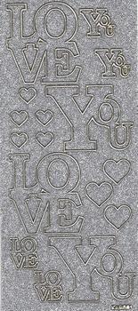 Sticker Kars Engelse tekst Glitter KARS01 Love You