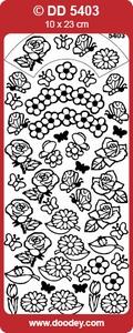 Doodey stickervel DD5403 Natuur bloem/vlinder/blad