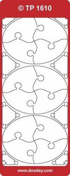 Doodey stickervel Transparant TP1610 Puzzel ovaal