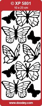 Doodey stickervel Transparant XP5801 Vlinders Realistisch