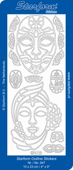 Stickervel Starform  947 Venetiaanse Maskers