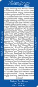 Sticker Starform Engelse tekst  343 Happy Birthday With Love