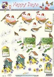A4 Knipvel Happy Days 11-053-157 Vogeltjes met huisje/taart