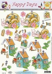 A4 Knipvel Happy Days 11-053-104 Nieuwe woning/slak met huis