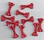 Decoratie strikjes van stof 10041207 rood  met wit stipje