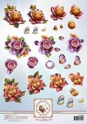 3D Knipvel Ann's Paper Art APA3D014 Autumn Roses